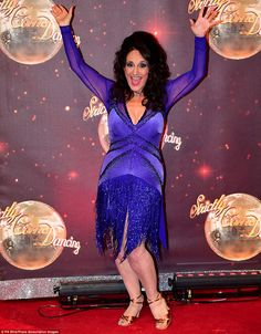 Ready to tango! Lesley Joseph enthusiastically hit the red carpet at the Strictly Come Dancing launch at Elstree Studios in London on Tuesday