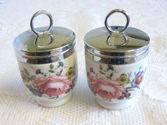 Set of 2 Vintage Royal Worcester Porcelain Egg Coddlers, Standard Size, Bournemouth Pattern, Pink Rose, Floral by TheWhistlingMan on Etsy SOLD