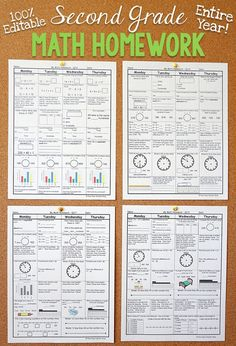 Second grade math homework or morning work that provides a daily review for 2nd grade math standards. This Second grade spiral math review resource is fully EDITABLE and comes with answer keys and a pacing guide.