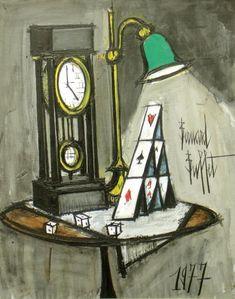 Bernard BUFFET 1928-1999 PENDULE ET JEU DE CARTE, 1977 Huile sur toile sign