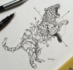 ideas origami tattoo tiger beautiful for 2019 Love Drawings, Beautiful Drawings, Doodle Drawings, Animal Drawings, Tattoo Drawings, Animal Illustrations, Tattoo Ink, Geometric Tiger, Geometric Sleeve