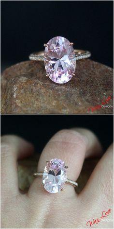Pale Light Pink & White Sapphire Engagement Ring Oval 9ct 15x10mm 14k 18k White Yellow Rose Gold Platinum Wedding Anniversary