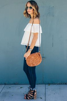 off shoulder top, white shirt and jeans, lace up sandals, welden saddle bag — via @TheFoxandShe