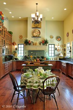 I love this blogger's table settings and her kitchen is amazing! The Little Round Table: Kitchen Colors
