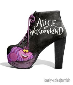 Even Better Bookish Shoes for Literary Feet Alice in Wonderland heeled booties Dream Shoes, Crazy Shoes, Zapatos Shoes, Shoes Heels, Vans Shoes, Cute Shoes, Me Too Shoes, Awesome Shoes, Disney Heels