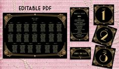Wedding Seating Chart / Printable Table Number 1-20 / Place Card / Menu - Art Deco Great Gatsby Inspired - DOWNLOAD Instantly, EDITABLE TEXT...