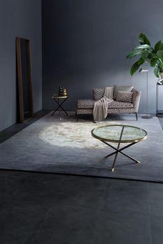 Recamiere design  COUPER Sofa mit NOXX Beistelltischen aus Glas und SPIRIT ...
