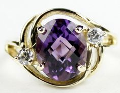 R021, Brazilian Amethyst, 10KY Gold Ring * Stone Type - Brazilian Amethyst * Approximate Stone Size - 10x8mm  * Approximate Stone Weight - 3.3 cts  * Jewelry Metal - Solid 10k Yellow Gold * Approximate Metal Weight - 3.9 grams  * Ring Size - Size selectable during checkout * Our Warranty - A full year on workmanship  * Our Guarantee - Totally unconditional 30 day guarantee