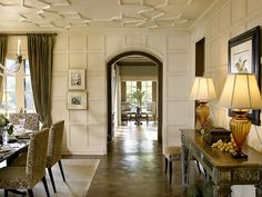 Dining Room direction - ceilings - softer w/ flexible moldings, overall soft finish w/ wood floors contrasting, Tudor revival interior Love those ceilings!