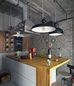 Подвесные светильники над кухонным островом