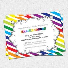 Printable Birthday Party Invitation Girl, Rainbow Colorful, Modern Diagonal Stripe DIY digital file