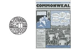 The 1965 logo Antonucci designed for Commonweal and his 1992 cover for the magazine which won the Catholic Press Association's annual competition  Courtesy of Commonweal