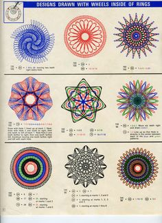 Who doesn't want to sit down and create these spirographs? Spirograph Art, Doodle Quotes, Drawing Machine, String Art Patterns, Retro Art, Vintage Ephemera, Picture Design, Repeating Patterns, Sacred Geometry