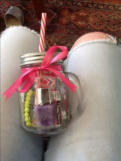 This is a really good Christmas present for a sister or cousin it is also a good present for birthdays fill with what ever you wish I have filled with nail-polish chap-stick ( cherry) body scrub and a homemade bracelet. Really simple to make and looks $100, Finished with a cute homemade card you are all set.