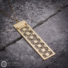 Geometric necklacelong necklace rectangular necklace by ByYaeli