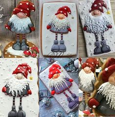 Winter gnomes Christmas Cookies Gift, Christmas Biscuits, Christmas Cupcakes, Christmas Sweets, Christmas Baking, Fancy Cookies, Cute Cookies, Cupcake Cookies, Ideas Decoracion Navidad