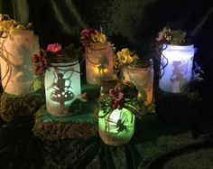 paper fairy lantern, lights up with battery tea light (included) ,handle to hang . I have several made but will also take orders for something special, pick color, solid, floral, animal prints, standard tea light or multi color tea light. if you would like to see other colors and decorations send message and I will send pics of additional ones made