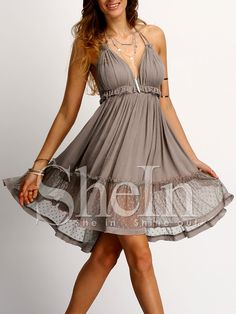 Shop Coffee Halter Neck Lace Ruffled Hem Dress online. SheIn offers Coffee Halter Neck Lace Ruffled Hem Dress & more to fit your fashionable needs.