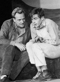 Arthur Kennedy (l) and James Dean (r) in N. Richard Nash& 1952 play See the Jaguar at Broadway& Cort Theatre. The play closed after five performances. Hollywood Actor, Classic Hollywood, Old Hollywood, Hollywood Stars, Geraldine Page, Rebel, James Dean Photos, Westerns, Nostalgia