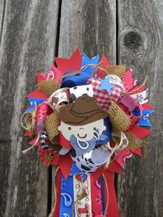 full cowboy corsage-cowboy baby shower mum-western baby shower on Etsy, $24.99
