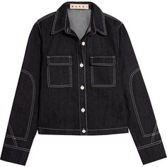 Marni Denim jacket (€325) ❤ liked on Polyvore featuring outerwear, jackets, denim, denim jacket, sweatter, dark denim jean jacket, dark blue denim jacket, embroidered denim jackets, dark blue jacket and dark denim jacket
