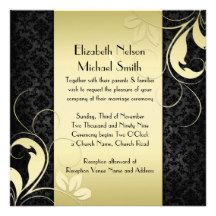 Luxury Gold Swirls Black Damask Wedding Invite Custom Announcement