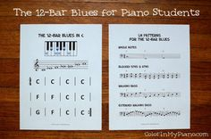 A FREE printable to help piano students learn to improvise the 12-bar blues!