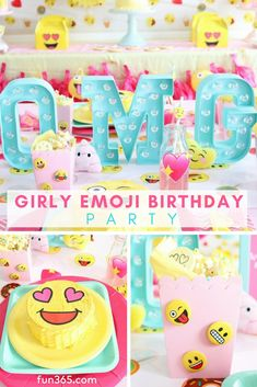 birthday party decorations OMG it's an emoji birthday party full of your favorite emoji characters and all things girly! See how Missy & Kristen from Sweetly Chic created this totally customized party with a selfie station and more. 10th Birthday Parties, 8th Birthday, Birthday Party Decorations, Birthday Party Invitations, Emoji Decorations, Invitations Kids, Emoji Theme Party, Emoji Birthday Party Ideas Girls, Birthday Emoji