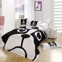 black and white dog print bedding set bedroom queen full size bedspread bed in a bag