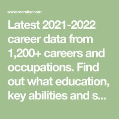 Latest 2021-2022 career data from 1,200+ careers and occupations. Find out what education, key abilities and skills you need in order to pursue a career. Discover daily tasks, areas of knowledge and main activities of each occupation. Finding The Right Career, List Of Careers, Career Exploration, Daily Task, Career Path, Knowledge, Key, Activities, Education