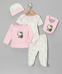 Take a look at this Light Pink Hello Kitty Organic Bear Bodysuit Set - Infant by Hello Kitty on #zulily today!