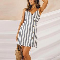 Sexy Stripe Printed Single-Breasted Sling Dress - Miss Tutorial and Ideas Elegant Dresses, Pretty Dresses, Sexy Dresses, Casual Dresses, Fashion Dresses, Dresses For Work, Summer Dresses, Wrap Dresses, Sweater Dresses