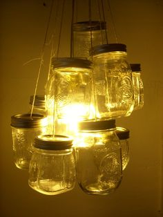 UpCycled ReCycled Made to Order Mason Jar Chandelier by BootsNGus