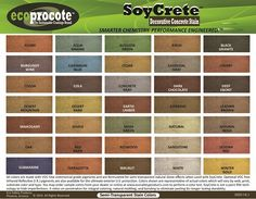 SoyCrete Concrete Stain Colors. Virtually unlimited custom colors available or mix and match to create your own.