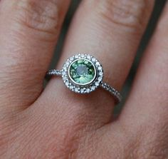 1ct Sparkling Green Tea sapphire ring 14k white by EidelPrecious