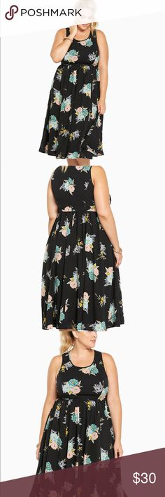 [OFFER] Floral Print Midi Dress The tank design cascades with a midi length and keeps it fresh with a breezy black georgette. Printed with a multi-color floral pattern, the look is feminine without being fussy.  Polyester Wash cold, line dry  Lightly  worn  💕😊💕 favorite dress   If u need pictures just ask 😘 torrid Dresses Midi