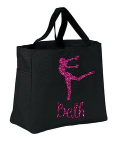 Another great find on #zulily! Black Glitter Dancer Personalized Tote by Preppy Mama #zulilyfinds