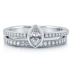 Bezel Set Marquise Cut Clear Cubic Zirconia CZ 925 Sterling Silver Bridal Ring Set 0.31 Carat