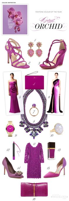 WedLuxe: We've rounded up our must-have fashion and beauty items inspired by the #Pantone colour of the year, Radiant Orchid