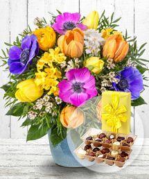 Fruhlingsbote Und Belgische Pralinen Blumen Online Geburtstag