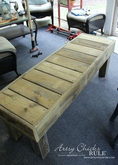 Wooden Bench Plans Best Of Simple Diy Outdoor Bench Thrifty Project Recycled Wood Banco Exterior, Pallet Exterior, Outdoor Furniture Plans, Pallet Furniture, Furniture Projects, Rustic Furniture, Antique Furniture, Furniture Stores, Bedroom Furniture