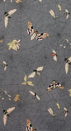 NEW GHASTLIES! A Ghastlie Web (Spider webs with butterflies) in Smoke Gray - 7835 BR - The Ghastlies - Alexander Henry Fabric via Etsy
