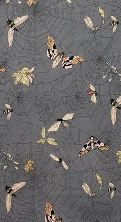NEW GHASTLIES! A Ghastlie Web (Spider webs with butterflies) in Smoke Gray - 7835 BR - The Ghastlies - Alexander Henry Fabric via Etsy