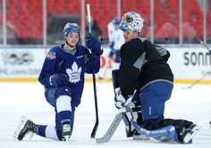 Mitch Marner, left, talking with Leafs goalie Frederik Andersen, leads all NHL rookies with 22 assists. Airedale Terrier, Terrier Puppies, Mitch Marner, Maple Leafs Hockey, Los Angeles Kings, Leaflets, National Hockey League, Toronto Maple Leafs, Hockey Players