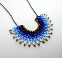 Peyote beaded Gradient Blue Mexican HALF MOON Necklace handmade by Luciana Lavin