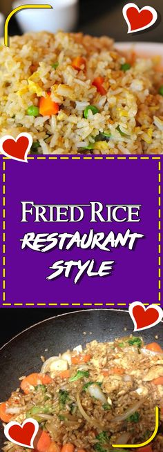 Fried Rice Restaurant Style Via comfort food recipes sugar free recipes clean eating recipes recipes sunday supper ideas vegan recipes Side Dish Recipes, Easy Dinner Recipes, Asian Recipes, Mexican Food Recipes, Vegetarian Recipes, Easy Meals, Easy Recipes, Chinese Recipes, Organic Recipes