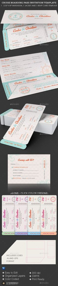 Wedding Cruise Boarding Pass Invitation Template #design Download: http://graphicriver.net/item/wedding-cruise-boarding-pass-invitation-template/11863723?ref=ksioks More