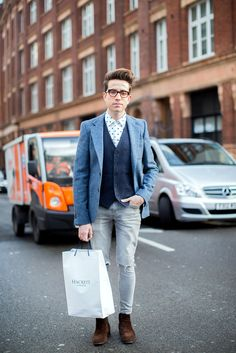Radio 1 DJ and menswear ambassador for London Collections: Men, Nick Grimshaw taking his role very seriously.