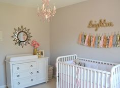 Name above crib Project Nursery - Pink and Gold