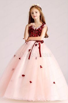 55614df06c78d At the first glance, this red top flower girl dress for wedding is only  lovely